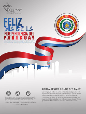 Celebrating Paraguay Independence Day. Abstract waving flag on Poster, flayer and brochure background template Illustration