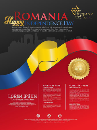 Celebrating Romania Independence Day. Abstract waving flag on Poster, flayer and brochure background template Vektorové ilustrace