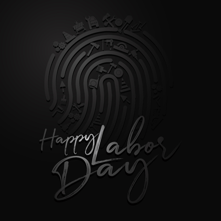 Happy Labor Day banner. Design template elegant with clip art labor on finger for you give greetings