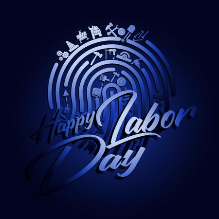 Happy Labor Day-Banner. Designvorlage elegant mit Clip-Art-Arbeit am Finger für Sie Grüße