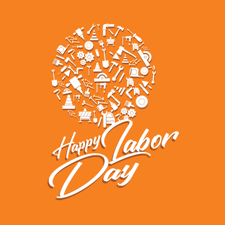 Happy Labor Day banner. Design template elegant with clip art labor circle dimension for you give greetings Standard-Bild - 123088930