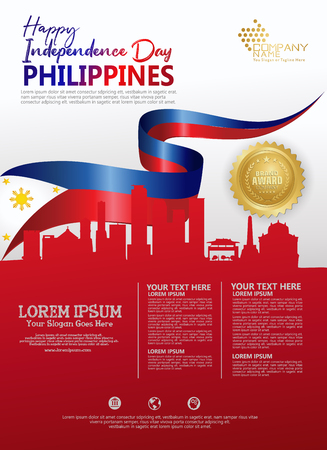 Philippines happy National Day background template with ribbon flags and silhouette city for a poster leaflet and brochure