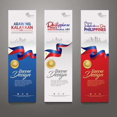 Set vertical banner design template. Happy Independence Day Philippines modern background with ribbon flag, gold award ribbon and silhouette city