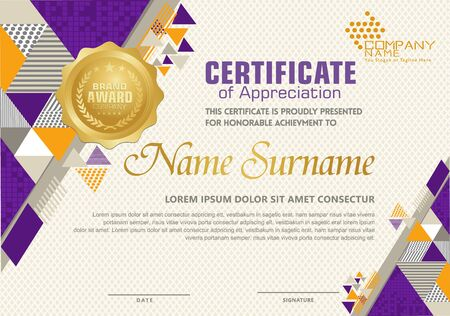 Certificate template with polygonal style, elegant and modern pattern for you event and other users