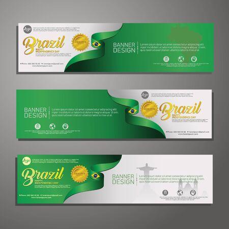 Set banner design template Independence Day Brazil modern background, for publications event  イラスト・ベクター素材