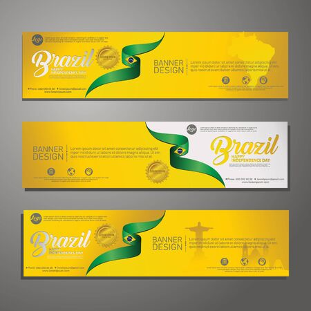 Set banner design template Independence Day Brazil modern background, for publications event Illustration