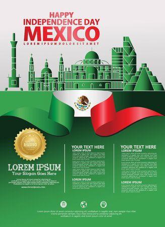 Modello di sfondo del giorno dell'indipendenza del Messico per un volantino e un opuscolo per un evento di pubblicazioni