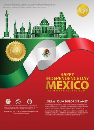 Mexico happy Independence Day background template for a poster leaflet and brochure for publications event