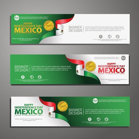 Happy Mexico independence day Banner and Background Set. for publication events