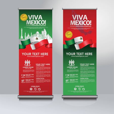 Happy Mexico independence day roll up banner set. for publication events