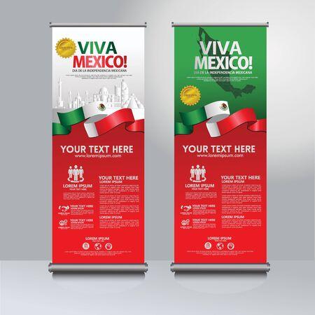 Felice giorno dell'indipendenza del Messico roll up banner set. per eventi di pubblicazione