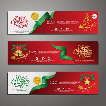 Trzy poziome banery świąteczne z santa claus, jingle bells, wstążkami i gwiazdami. Nowy rok i ilustracja kartki świąteczne na tle. na publikacje wydarzenie Ilustracje wektorowe