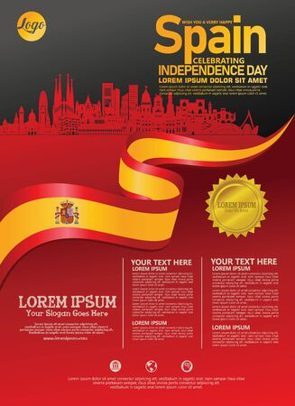 Spain national day modern design template. Design for poster, brochure, flayer and other users for publications