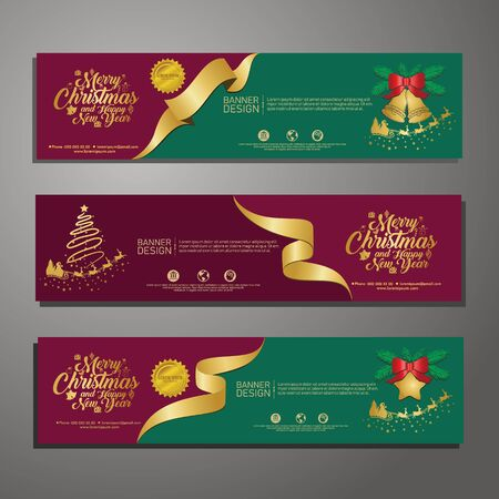 Set template design Merry Christmas horizontal banner. Flayer with red tape background and Happy holiday text. Banner for new year sale. Christmas offer. Vector. 版權商用圖片 - 131456134