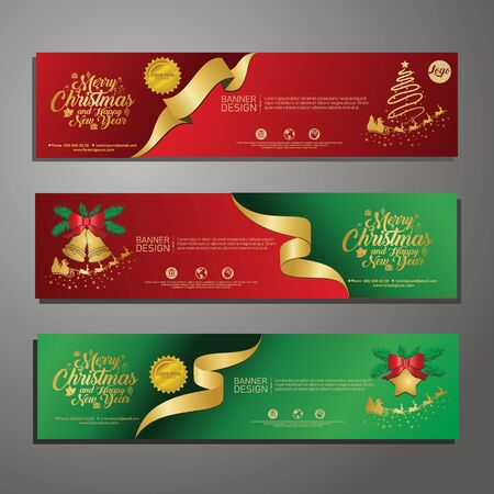 Set template design Merry Christmas horizontal banner. Flayer with red tape background and Happy holiday text. Banner for new year sale. Christmas offer. Vector. 版權商用圖片 - 131457457
