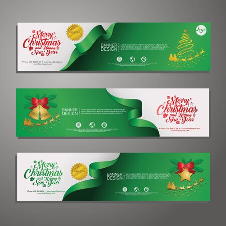 Set template design Merry Christmas horizontal banner. Flayer with red tape background and Happy holiday text. Banner for new year sale. Christmas offer. Vector. 版權商用圖片 - 131458447