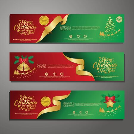 Set template design Merry Christmas horizontal banner. Flayer with red tape background and Happy holiday text. Banner for new year sale. Christmas offer. Vector. 版權商用圖片 - 131457879