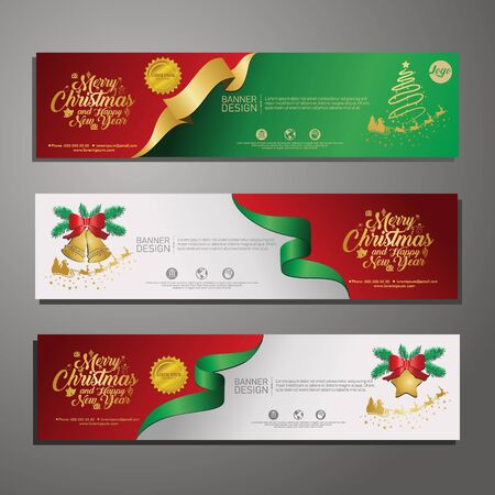 Set template design Merry Christmas horizontal banner. Flayer with red tape background and Happy holiday text. Banner for new year sale. Christmas offer. Vector.