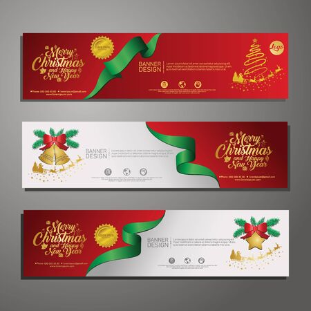 Set template design Merry Christmas horizontal banner. Flayer with red tape background and Happy holiday text. Banner for new year sale. Christmas offer. Vector. 版權商用圖片 - 131455227