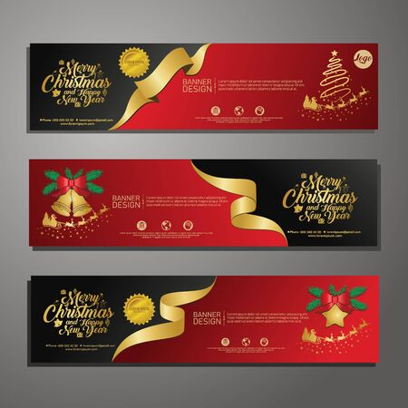 Set template design Merry Christmas horizontal banner. Flayer with red tape background and Happy holiday text. Banner for new year sale. Christmas offer. Vector. 版權商用圖片 - 131455934