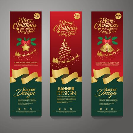 Merry Christmas banner vertical background, with accessories vector illustration