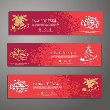 Set template design Merry Christmas horizontal banner.