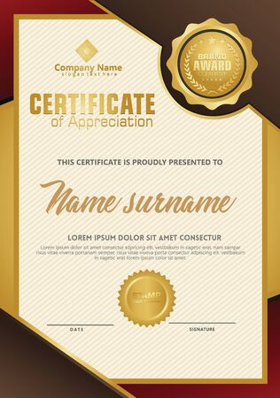 Certificate template with luxury and elegant texture modern pattern, diploma, Vector illustration