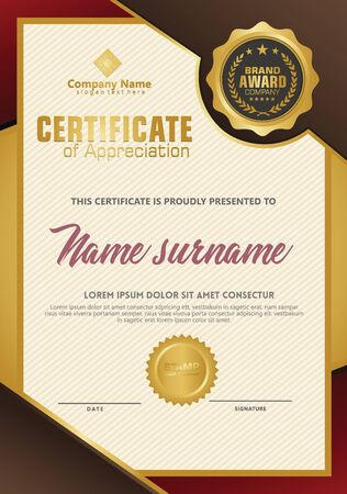 Certificate template with luxury and elegant texture modern pattern, diploma, Vector illustration Zdjęcie Seryjne - 134856270
