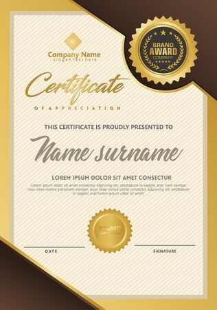 Certificate template with luxury and elegant texture modern pattern, diploma, Vector illustration Zdjęcie Seryjne - 134856273