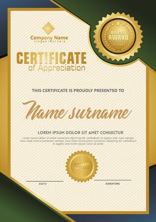 Certificate template with luxury and elegant texture modern pattern, diploma, Vector illustration Zdjęcie Seryjne - 134856277