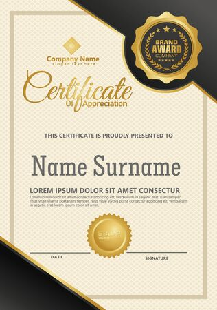 Certificate template with luxury and elegant texture modern pattern, diploma, Vector illustration Zdjęcie Seryjne - 134856279