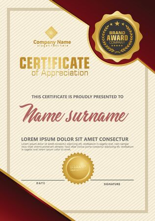 Certificate template with luxury and elegant texture modern pattern, diploma, Vector illustration Zdjęcie Seryjne - 134856282