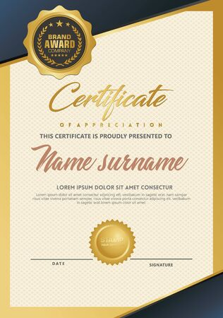 Certificate template with luxury and elegant texture modern pattern, diploma, Vector illustration Zdjęcie Seryjne - 134856285