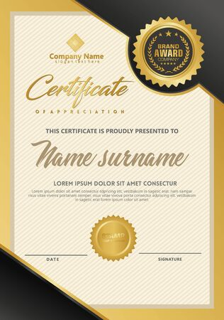 Certificate template with luxury and elegant texture modern pattern, diploma, Vector illustration Zdjęcie Seryjne - 134856288