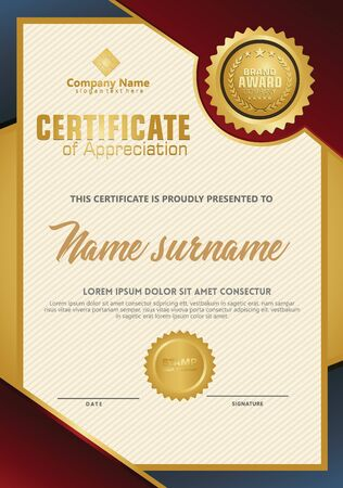 Certificate template with luxury and elegant texture modern pattern, diploma, Vector illustration Zdjęcie Seryjne - 134856352