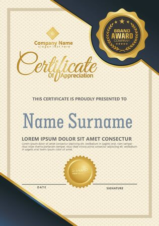 Certificate template with luxury and elegant texture modern pattern, diploma, Vector illustration Zdjęcie Seryjne - 134856356