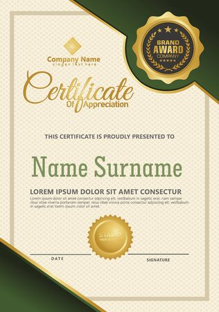 Certificate template with luxury and elegant texture modern pattern, diploma, Vector illustration Zdjęcie Seryjne - 134856357