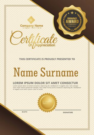 Certificate template with luxury and elegant texture modern pattern, diploma, Vector illustration Zdjęcie Seryjne - 134856359