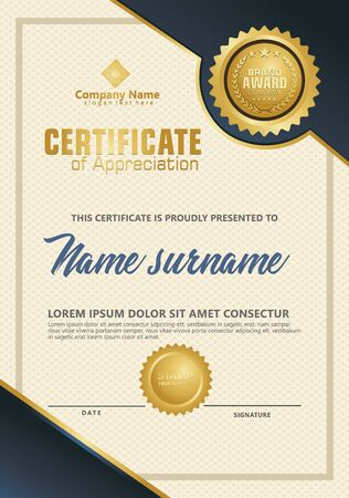 Certificate template with luxury and elegant texture modern pattern, diploma, Vector illustration Zdjęcie Seryjne - 134856362