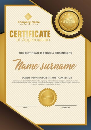 Certificate template with luxury and elegant texture modern pattern, diploma, Vector illustration Zdjęcie Seryjne - 134856364