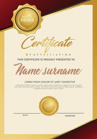 Certificate template with luxury and elegant texture modern pattern, diploma, Vector illustration Zdjęcie Seryjne - 134856365