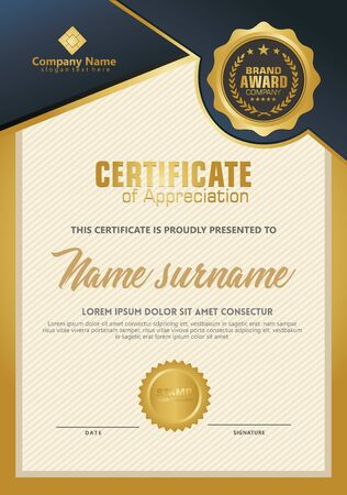 Certificate template with luxury and elegant texture modern pattern, diploma, Vector illustration Zdjęcie Seryjne - 134856386