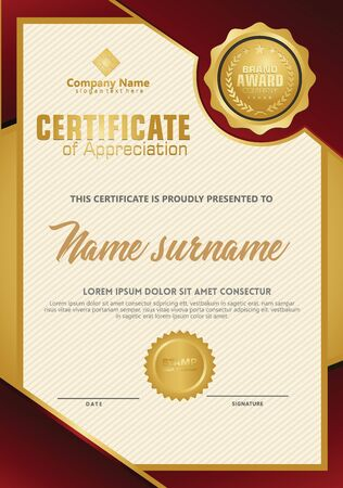 Certificate template with luxury and elegant texture modern pattern, diploma, Vector illustration Zdjęcie Seryjne - 134856387