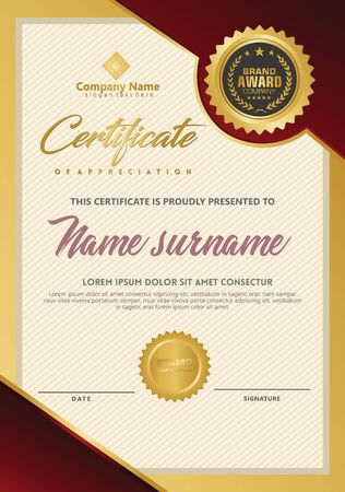 Certificate template with luxury and elegant texture modern pattern, diploma, Vector illustration Zdjęcie Seryjne - 134856392