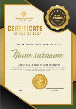 Certificate template with luxury and elegant texture modern pattern, diploma, Vector illustration Zdjęcie Seryjne - 134856390