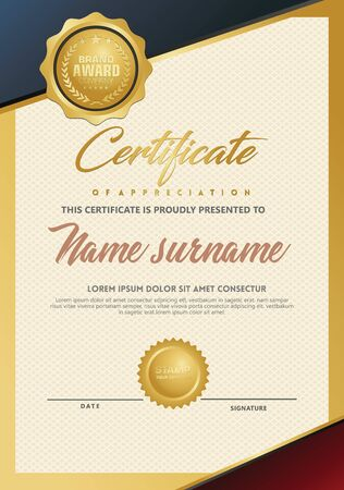 Certificate template with luxury and elegant texture modern pattern, diploma, Vector illustration Zdjęcie Seryjne - 134856397