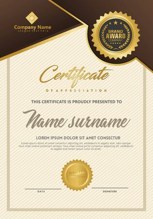 Certificate template with luxury and elegant texture modern pattern, diploma, Vector illustration Zdjęcie Seryjne - 134856399