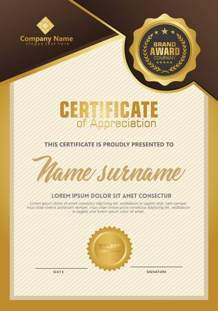 Certificate template with luxury and elegant texture modern pattern, diploma, Vector illustration Zdjęcie Seryjne - 134856407