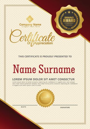 Certificate template with luxury and elegant texture modern pattern, diploma, Vector illustration Zdjęcie Seryjne - 134856419