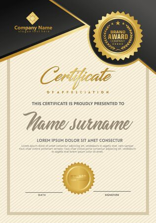 Certificate template with luxury and elegant texture modern pattern, diploma, Vector illustration Zdjęcie Seryjne - 134856421